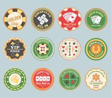 Poker retro Labels gesetzt vektor