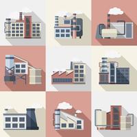 industriella byggnader uppsättning vektor