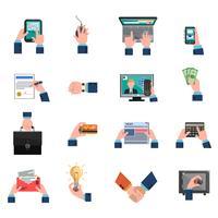 Geschäft Hände Icons Flat Set