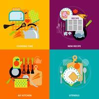 Matlagningskoncept 4 platta ikoner torg vektor
