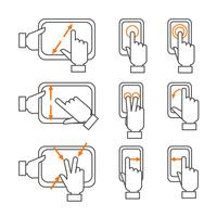 Smartphone-gestikuleringar skisserade ikoner vektor