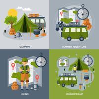 Camping platt ikoner Set