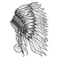 Doodle Headdress För Indisk Chief vektor