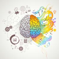 Vänster högra hjärnkoncept