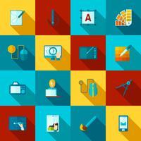 Plattformade ikoner för grafisk design vektor
