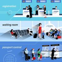 Människor i flygplatsbanners