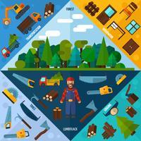 träbearbetning industrin hörn vektor