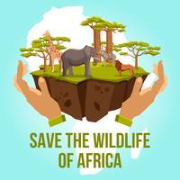 Spara Afrika-konceptets vilda djur vektor