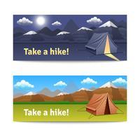 Abenteuer und Wanderung Banner Set vektor