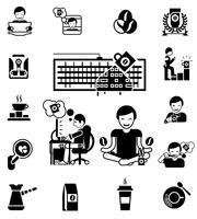 Kaffe Svart Vit Ikoner Set