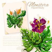 Monstera Blätter mit Hibiskusblüten-Design