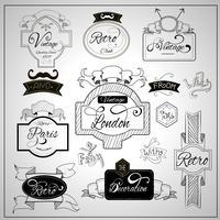 Retro-Design Schlagworte Elemente auf Whiteboard