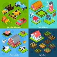 Farm 4 isometrisk fyrkantig ikoner sammansättning