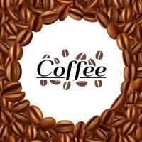 Kaffebönor runda ram bakgrundsutskrift