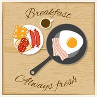 Frühstücks-Farbflaches Konzept vektor