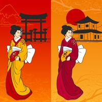 Geisha Banner Vertikal vektor
