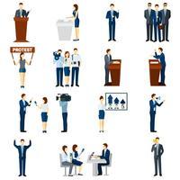 Politik platt ikoner uppsättning vektor