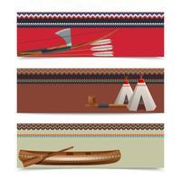 Amerikanska indiska etniska banners uppsättning vektor