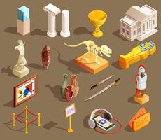 Isometrische Sammlung von Museumsartefakten