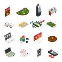 Gamblingfärgade isometriska ikoner