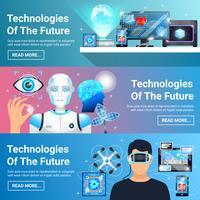 framtida tekniker banners set vektor