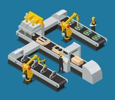 Bilelektronik Autoelektronik Isometrisk Fabriksammansättning vektor