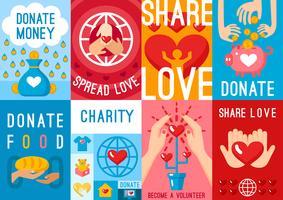 Välgörenhets Donation Posters Set vektor
