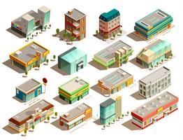 Speichern Sie Gebäude isometrische Icons Set