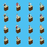 Barman Isometric Icons