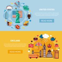 England och USA Horisontella Banderoller vektor