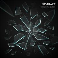 Broken Glass Flying Fragments Mörk bakgrund