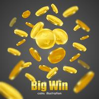 Großes Gewinn-Goldmünzen-Anzeigen-Hintergrund-Plakat