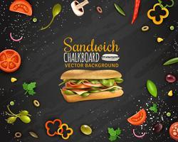 Fresh Sandwich Chalkboard Bakgrund Reklamaffisch