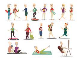 Äldre Folk Koncept Ikoner Set