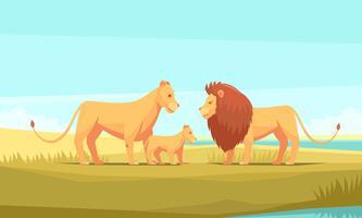 Wilde Löwenfamilie Zusammensetzung vektor