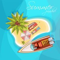 Sonnenanbeter auf Insel-Zusammensetzung-Draufsicht vektor