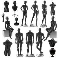 Mannequins Män Kvinnor Realisyic Black set vektor