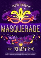 Inbjudanaffisch för masqueradeaftonfest
