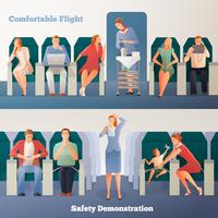 Leute in den Flugzeug-horizontalen Fahnen