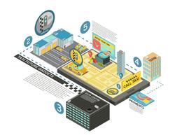 taxi framtida gadgets isometrisk infographics vektor