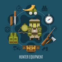 jägare utrustning koncept
