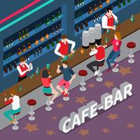 café bar isometrisk komposition vektor
