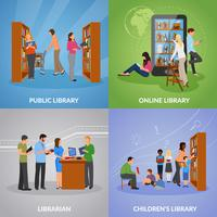 Inställda ikoner för bibliotek vektor
