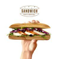 Hälsosam Sandwich i handen Realistisk bild