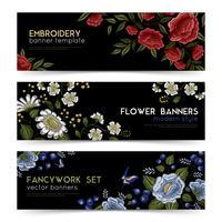 Floral Folk Stickerei Banner Set vektor