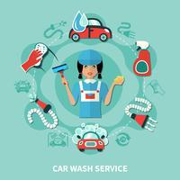Waschfrau Werkzeuge Runde Zusammensetzung vektor