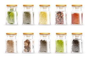 Örter kryddor burkar ikonuppsättning