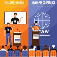 Konferens Hall Interiör Vertikal Banner Set