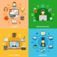 fyra e-lärande ikonuppsättning vektor