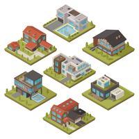 isometrisk hus ikonuppsättning